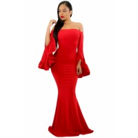 Black Off Shoulder Pleated Bell Sleeves Party Evening Maxi Dress Red