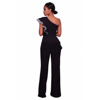 Black One Shoulder Falbala Design Jumpsuits