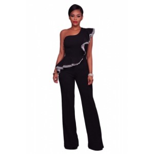 Black One Shoulder Falbala Design Jumpsuits