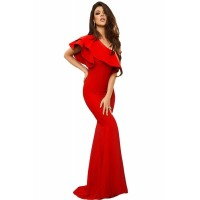 Black Ruffle One Shoulder Elegant Mermaid Dress Red