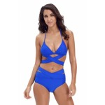 Black Sexy Cut Out 2pcs Swimwear Nay Blue Rose Blue