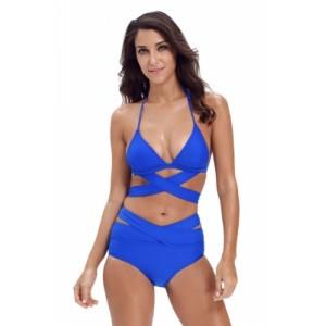 Black Sexy Cut Out 2pcs Swimwear Nay Blue Rose Blue