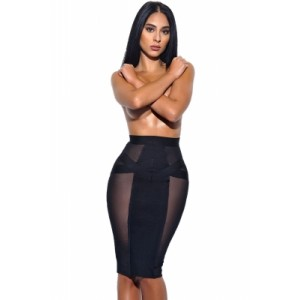 Black Sheer Mesh Cutout Midi Bandage Skirt