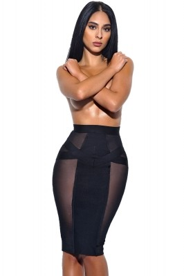 Black Sheer Mesh Cutout Midi Bandage Skirt