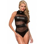 Black Striped Mesh Cutout Wet Look Teddy