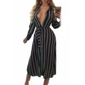Black White Striped Maxi Shirtdress