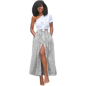 Blue White Stripes Button Front Maxi Skirt Black