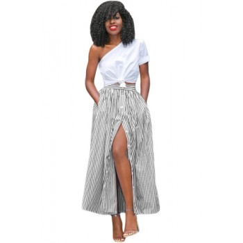 Blue White Stripes Button Front Maxi Skirt Black