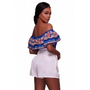 Bluish Floral Print Ruffle Off Shoulder Bodysuit
