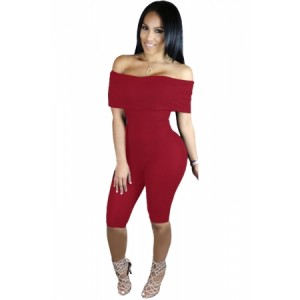 Burgundy Knee-length Off Shoulder Ribbed Jumpsuit Black