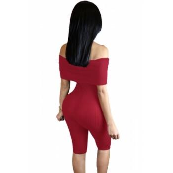 Burgundy Knee-length Off Shoulder Ribbed Jumpsuit Black