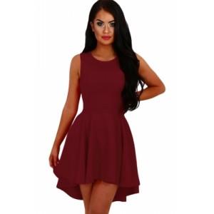 Burgundy Pleated Hi-low Hem Sleeveless Skater Dress Pink Black Blue Rosy