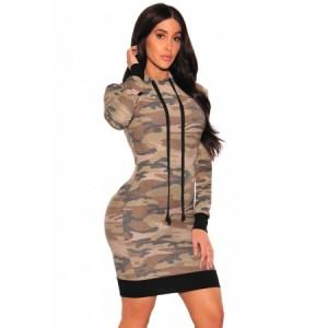 Camo Hoodie Long Sleeve Dress
