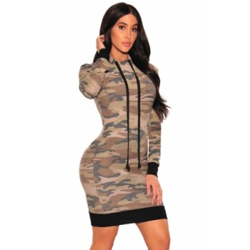 Camo Hoodie Long Sleeve Dress