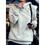Casual Women's Solid Color Long Sleeve Hoodie gray