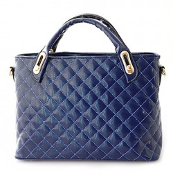 Dress Women's Shoulder Bag With PU Leather and Checked Design blue black pink