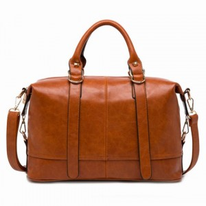 Elegant Women's Tote Bag With Buckle and Solid Color Design brown black