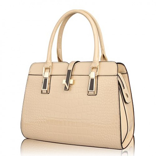 Elegant Women s Tote Bag With Buckle and Solid Color Design brown ...