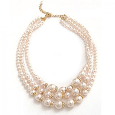 Exquisite Multi-Layered Faux Pearl Necklace For Women white