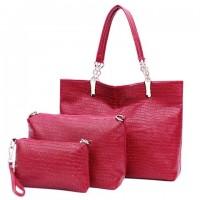 Fashion Women's Shoulder Bag With Crocodile Print and Solid Color Design plum blue