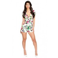 Floral Print Short Sleeve V-Neck Hollow Out Design Jumpsuit For Women