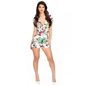 Floral Print Short Sleeve V-Neck Hollow Out Design Jumpsuit For Women