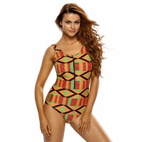 Geometric Bikini Romper Zipped One Piece Bathing