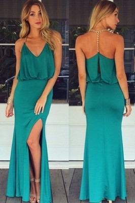Gold Chain Halter Maxi Dress with T Back