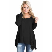Graceful Lace Inset Side White Women's Top Black