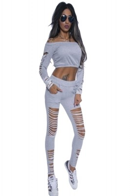 Grey Long Sleeve Crop Top Ribbed Cutout Pant Set Black Red