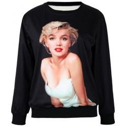 Jewel Neck Long Sleeves Beauty Printed Stylish Sweatshirt For Women