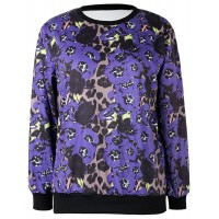 Jewel Neck Long Sleeves Leopard Printed Stylish Sweatshirt For Women purple