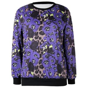 Jewel Neck Long Sleeves Leopard Printed Stylish Sweatshirt For Women purple