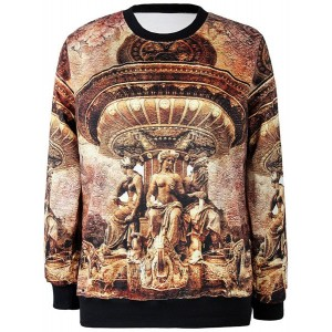 Jewel Neck Long Sleeves Sculpture Printed Stylish Sweatshirt For Women
