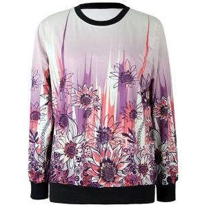 Jewel Neck Long Sleeves Sunflower Printed Stylish Sweatshirt For Women
