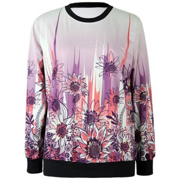 Jewel Neck Long Sleeves Sunflower Printed Stylish Sweatshirt For Women