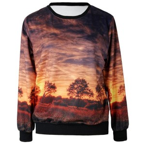 Jewel Neck Printed Long Sleeves Casual Sweatshirt For Women