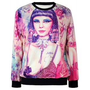 Jewel Neck Printed Long Sleeves Fashionable Sweatshirt For Women
