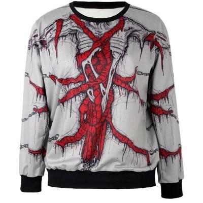 Jewel Neck Printed Long Sleeves Stylish Sweatshirt For Women