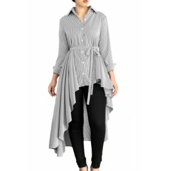 Light Blue Striped Lapel Shirt High Low Belted Blouse Top Gray Pink