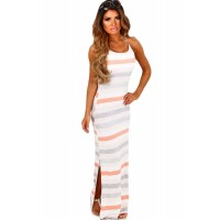 Mint and White Stripe Jersey Maxi Bohemian Dress Peach