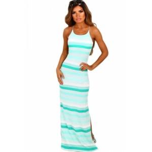 Mint and White Stripe Jersey Maxi Bohemian Dress Peach