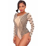 Nude Mesh Black Stripes Bodysuit