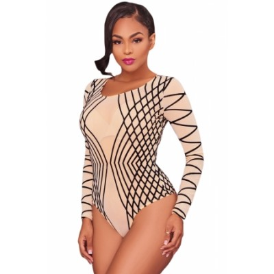 Nude Mesh Black Stripes Bodysuit