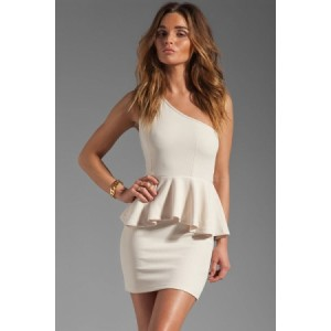 One-shoulder Double-layer Dress