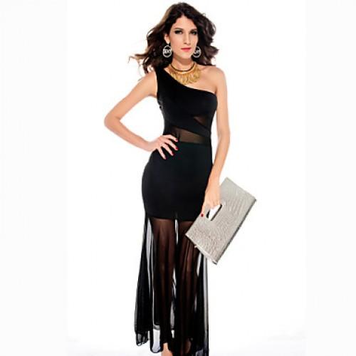 One Shoulder Mesh Insert Fishtail Maxi Dress Black One Shoulder