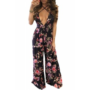 Open Back Flower Print Holiday Jumpsuit