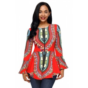 Orange African Print Zipper Front Long Sleeve Top Blue Purple