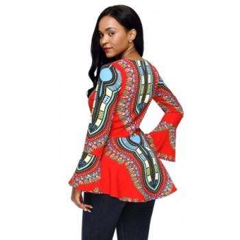 Orange African Print Zipper Front Long Sleeve Top Blue Purple