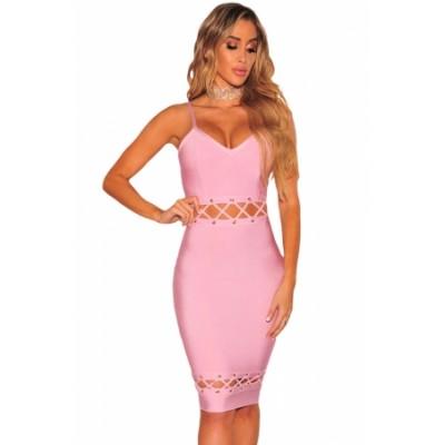 Pink Bandage Lace Up Sleeveless Dress
